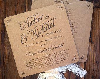 Items similar to Wedding Program Template - Rustic Kraft Lace ...