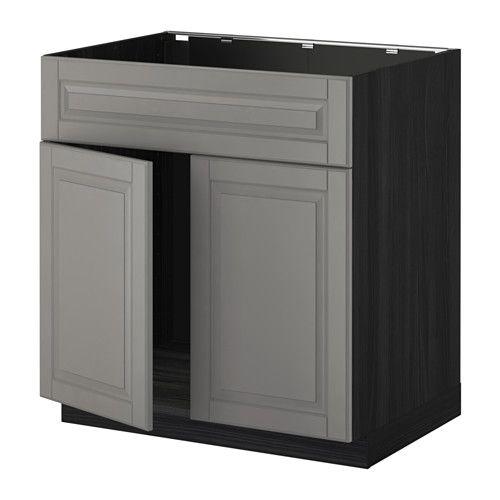 IKEA - METOD, Mobile lavello 2 ante/frontale, effetto legno nero ...