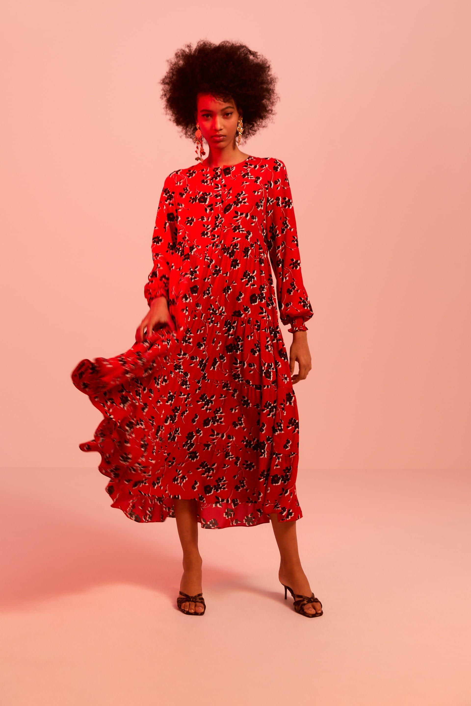 robe zara fleurs 2018 rouge