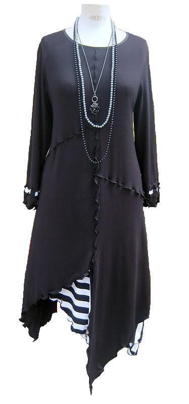 Quirky Lagenlook Black with stripe long Tunic/Top/Dress *Made in England*
