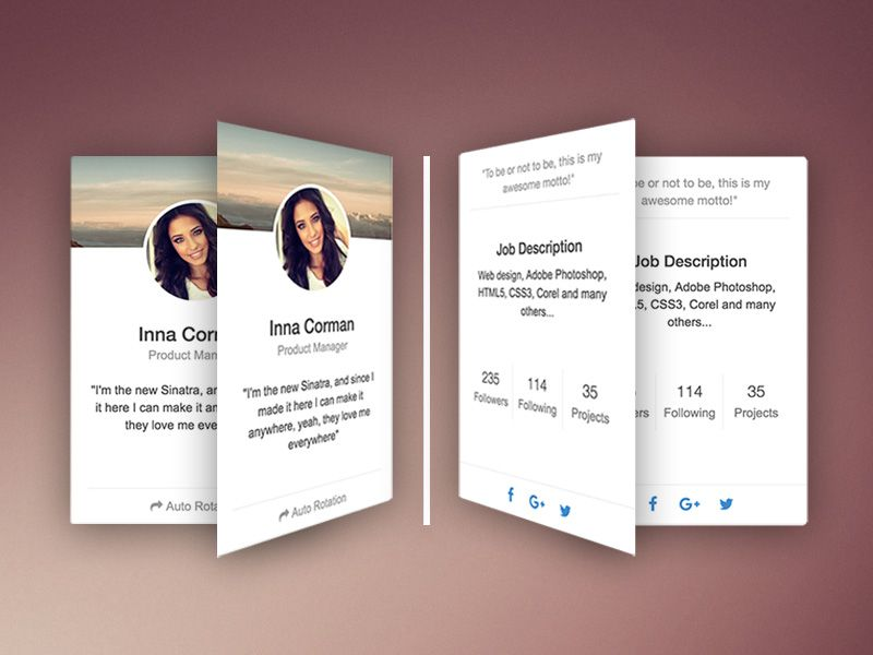 free bootstrap rotating css cards snippet since this