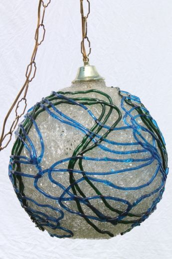vintage swag lamp clear lucite plastic spaghetti string globe shade w blue u0026 green