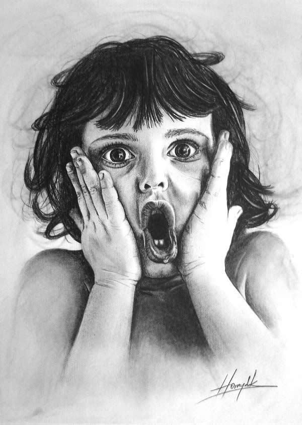 Hyperrealistische Zeichnung eines Kindes - Amazed Child