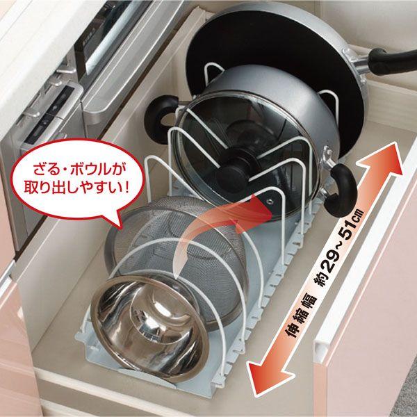 フライパンを斜めに収納する訳 食器 収納 引き出し キッチン 収納 シンク下 引き出し フライパン 収納