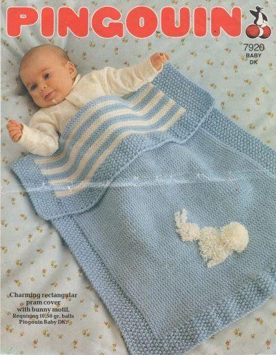 Free Knitting Pattern Cowl : Pingouin 7920 - baby pram blanket - vintage baby knitting pattern KNIT FOR ...