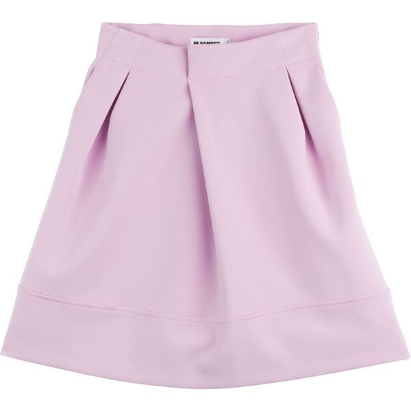 Jil Sander Neoprene Skirt (835 RON) ❤ liked on Polyvore featuring skirts, bottoms, rose, jil sander skirt, pale pink skirt, neoprene skirts, foldover skirt and jil sander