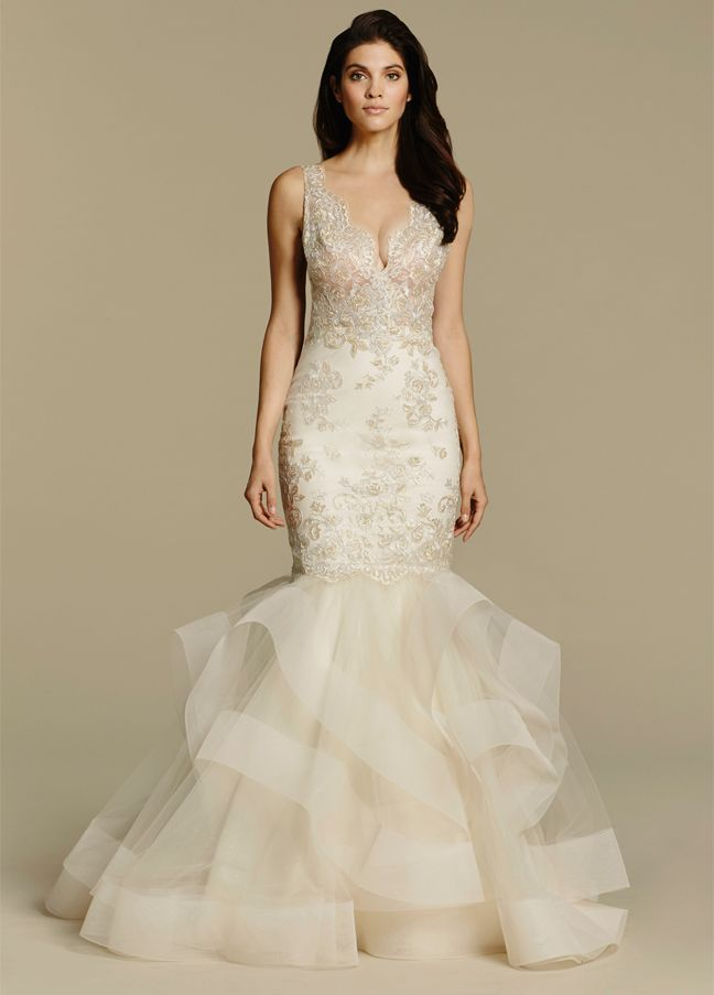 Tara Keely 2608 Fit To Flare Bridal Gown With Lace Bodice V Neck And Plunge