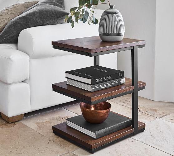 Allen 3 Tier End Table Pottery Barn In 2020 Table Decor Living Room Living Room End Tables Furniture For Small Spaces