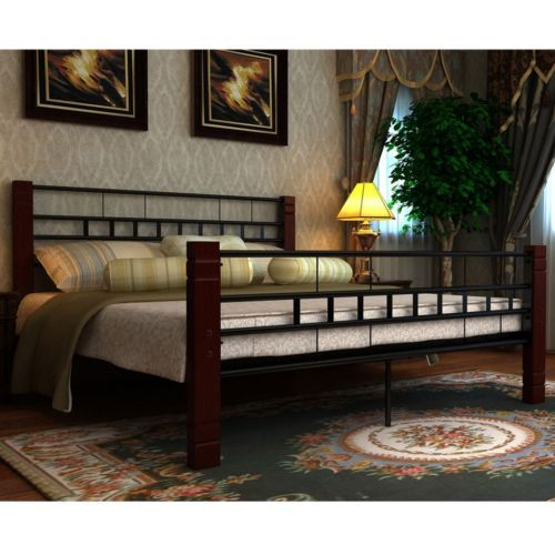 4ft6 black #double size metal bed #frame 140x200 cm wooden legs #bedroom furnitur,  View more on the LINK: 	http://www.zeppy.io/product/gb/2/351620514819/