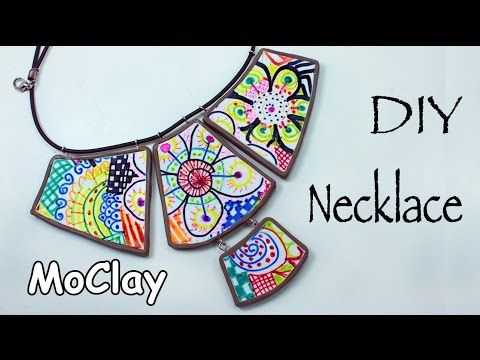 DIY Necklace - Transferring a drawn image onto polymer clay - YouTube