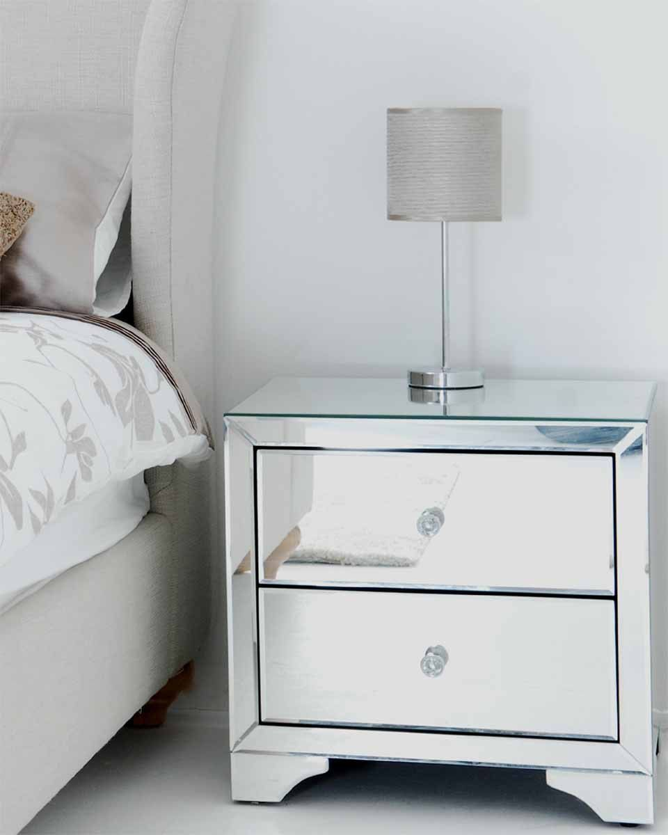 Be bedside table and bed - My Furniture Mirrored Furniture Bedside Table Cabinet 2 Drawers Avantgarde Range