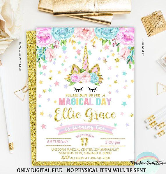 Unicorn invitation unicorn birthday invitation rainbow magical unicorn invitation birthday printable 4x6 or 5 x 7 digital file super cute for a special stopboris Gallery