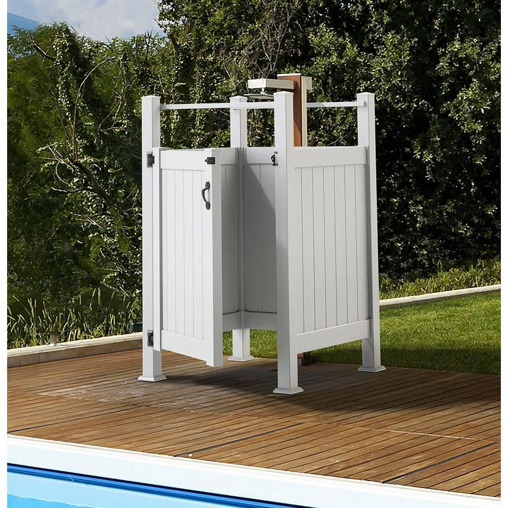 Liquid Sunshine 3 5 Ft W X 5 Ft H White Vinyl Outdoor Shower Stall Gate Kit Unassembled 73025338 The Home Depot Outdoor Pool Shower Outdoor Shower Kits Outdoor Shower Enclosure