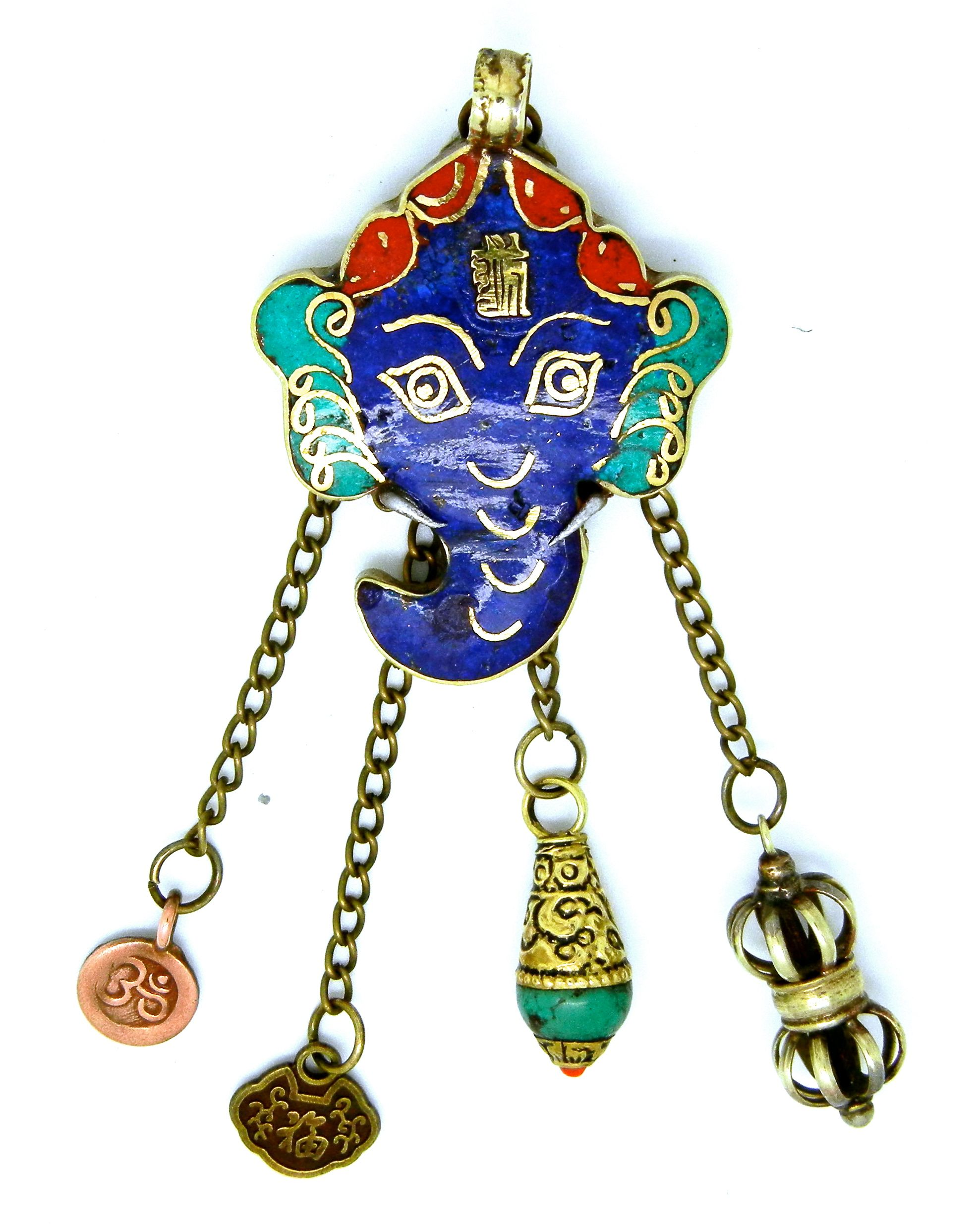 Nepalese Ganesh Pendant with a Copper Om Charm, a Brass Chinese Coin, Tibetan Turquiose Charm and a Nepalese Dorje Charm. Price: $35.00