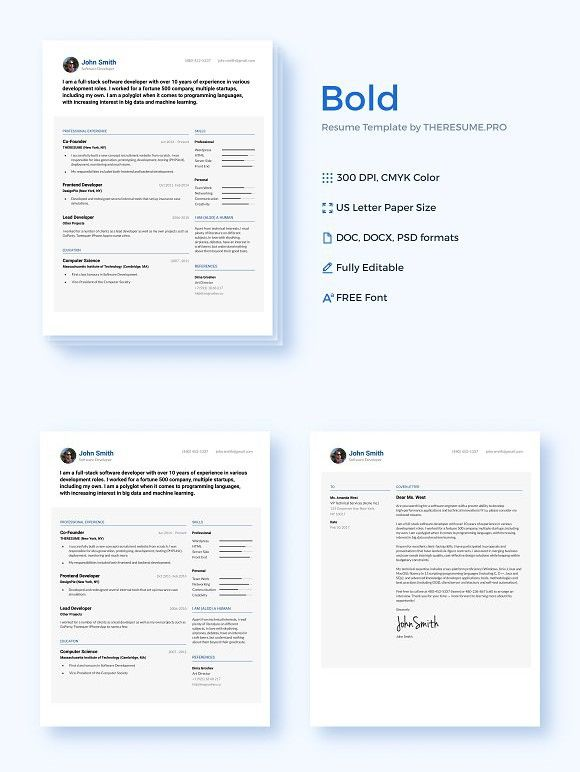 BOLD by THERESUMEPRO Resume, Bold and Template - resume pro