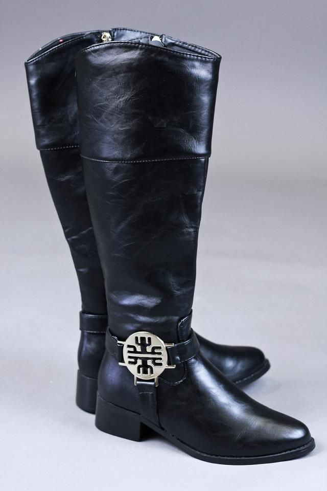 black riding boots.