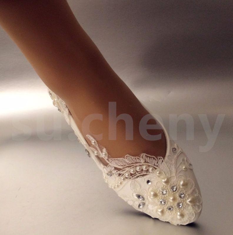 Captivating White Light Ivory Lace Pearls Crstal Flat Ballet Wedding Shoes Bridal Size  5 12