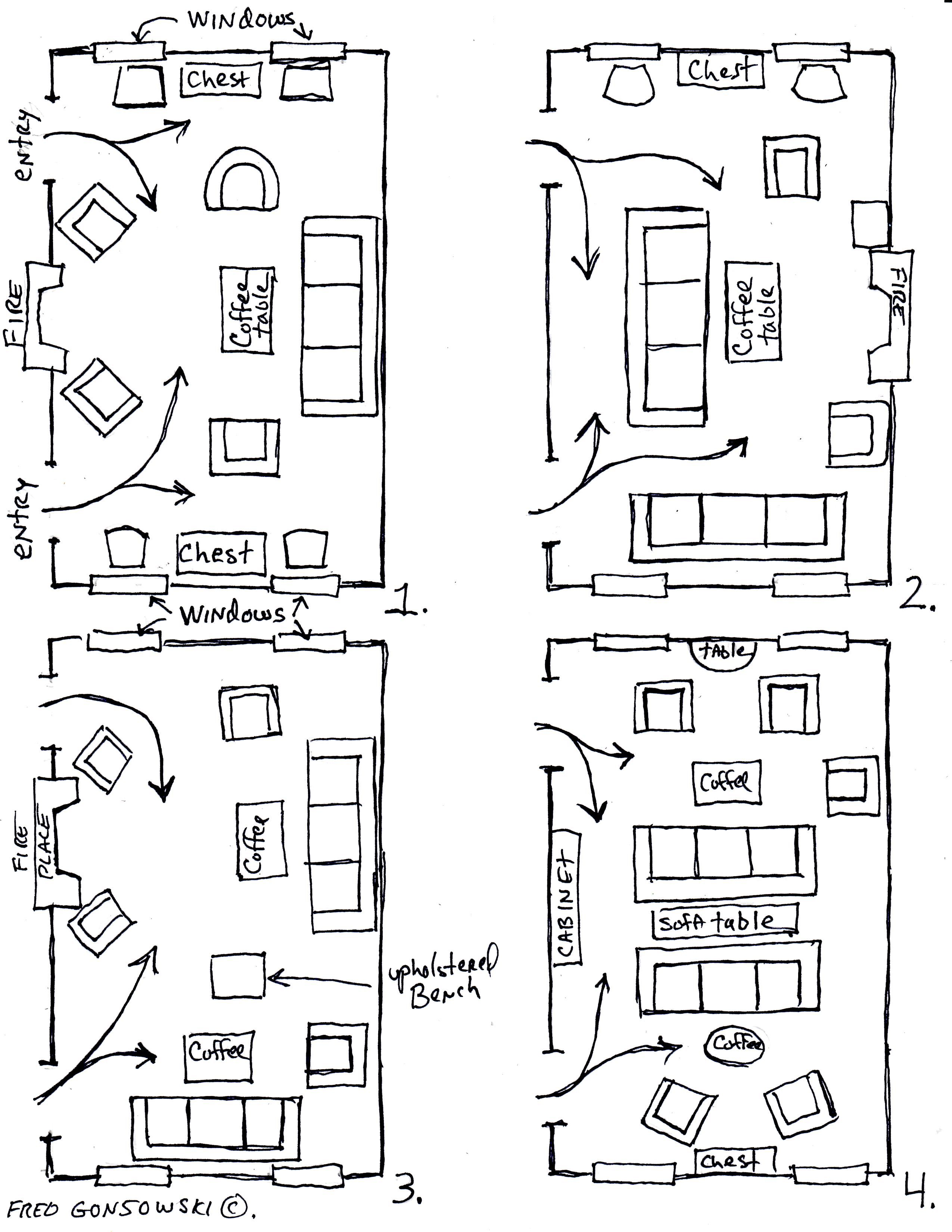 Arranging furniture TWELVE different ways in the Same Room Fred
