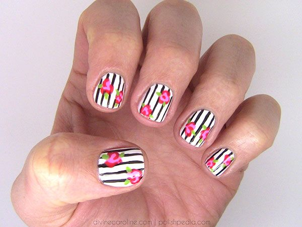 In Bloom: Floral-and-Stripes Nail Art - In Bloom: Floral-and-Stripes Nail Art Beauty Nails