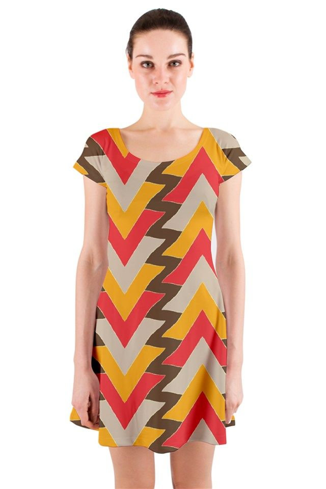 Triangles in red.art Short Sleeve Skater Dress, dress #fashion #triangles #pattern #apparel #skater #