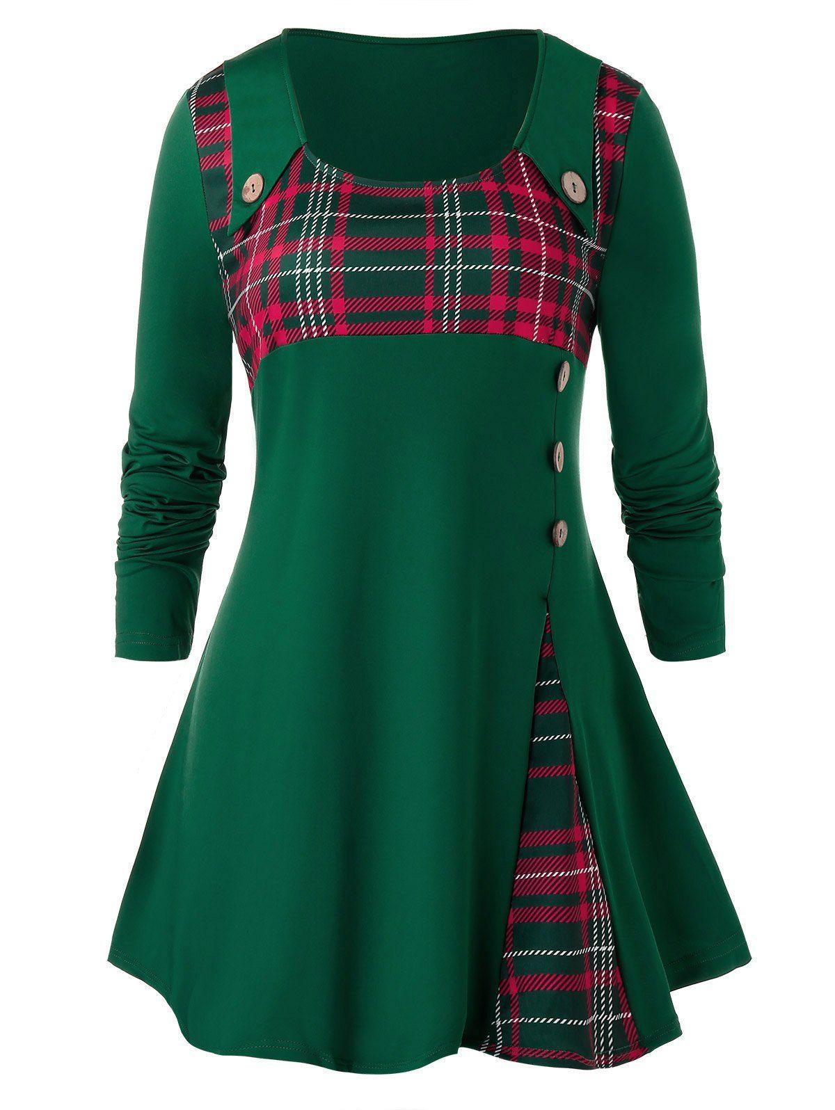 Plus Size Button Down Plaid Long Shirt in 2020 | Cute skirt