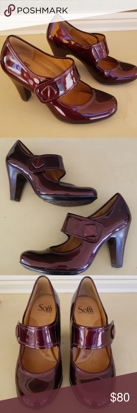 Sofft wine patent sandals