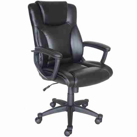 "Broyhill Bonded Leather Manager Chair, Black  Supple, bonded leather on all seating surfaces  Customizable seat height so your knees are at a 90 degree angle for proper circulation  Pneumatic gas lift with tilt-tension adjustment and lockout lever  Heavy-duty base with dual wheel casters Dimensions: 24.75""L x 28.25""W x 40.25""-44""H Broyhill Manager Chair with Bonded Leather Model# 41129"