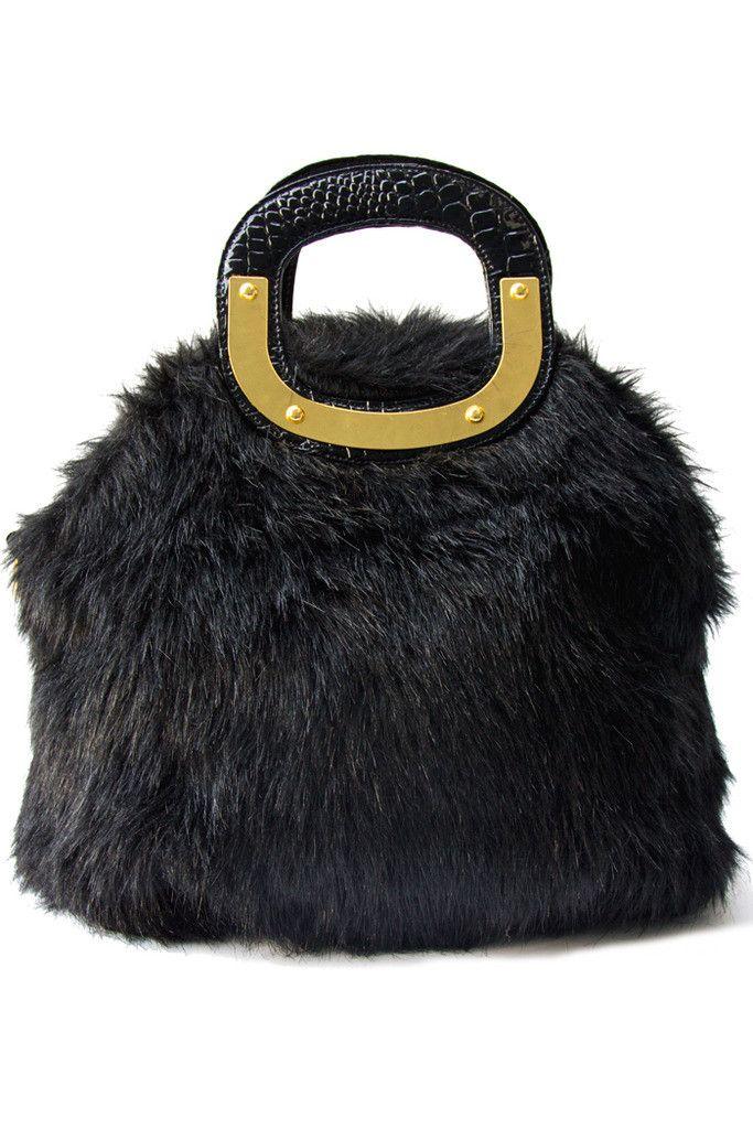 43d468e1059 Black faux fur bag   Fur bag, Fur and Bag