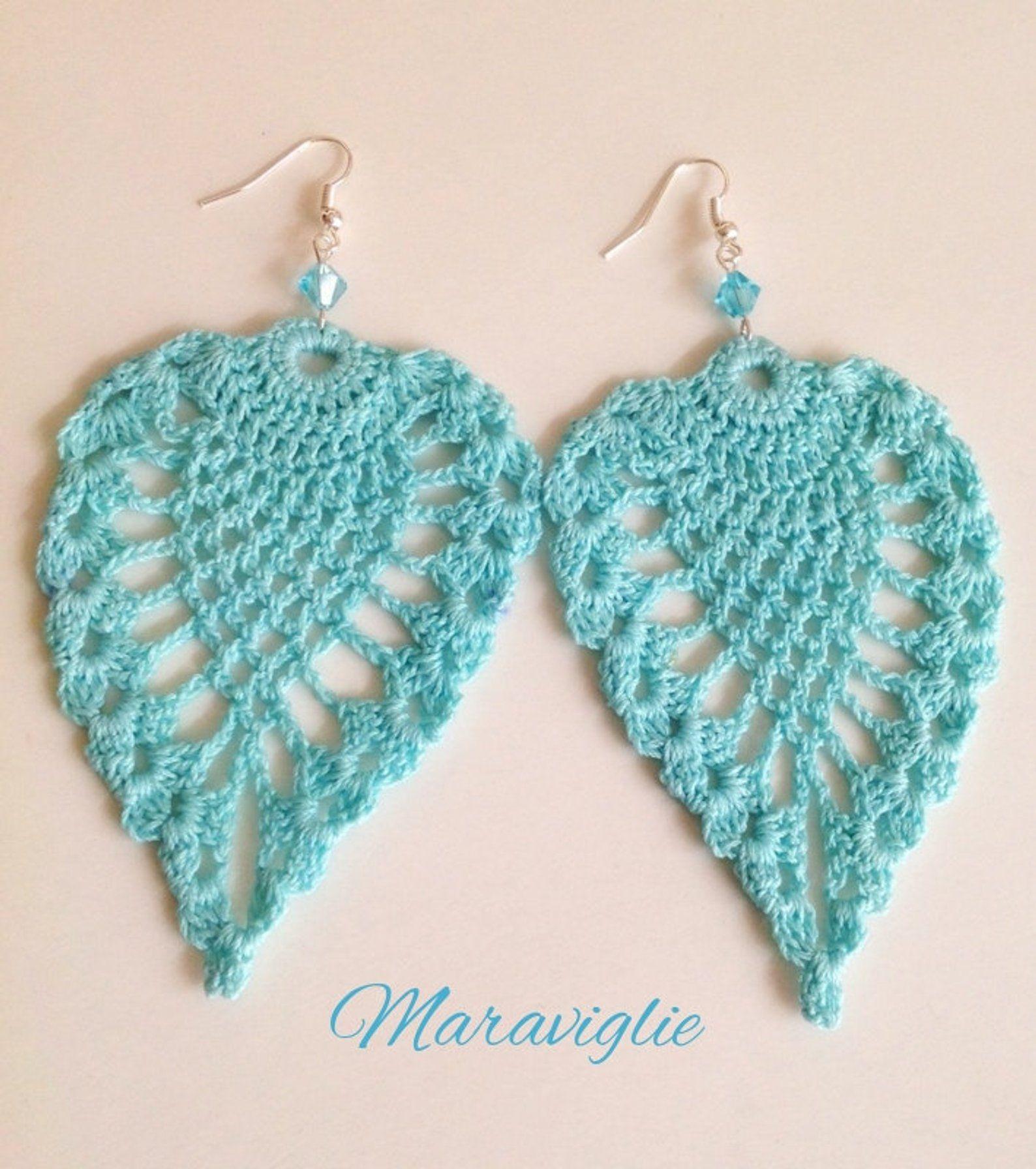 Stainless steel earrings hand-crocheted cotton flower