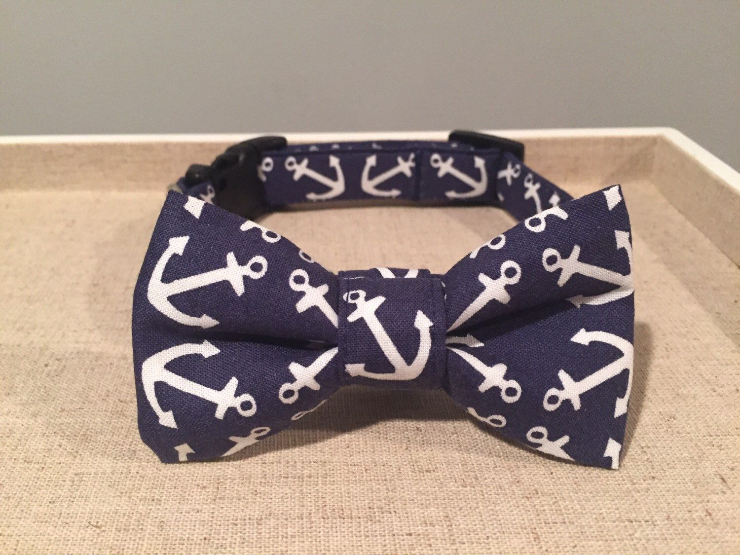 A personal favorite from my Etsy shop https://www.etsy.com/listing/249825962/navy-white-anchor-dog-collar