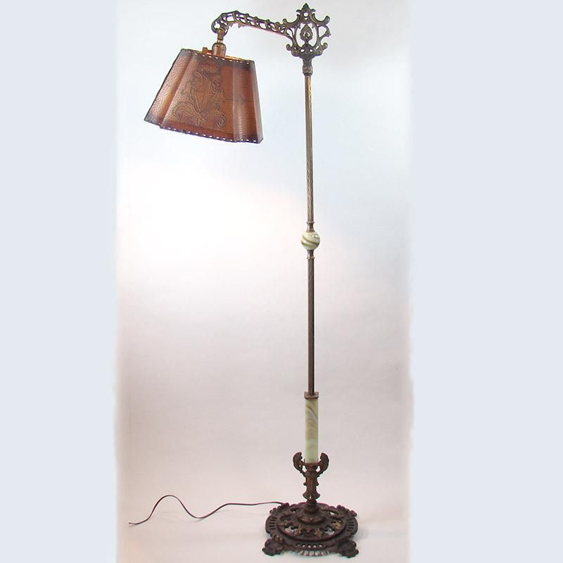 Electric Floor Lamp With Original Parchment Shade 1920 S Floor Lamp Lamp Vintage Lighting