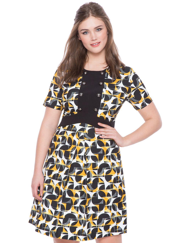 7c574139f6f Geometric Print Fit and Flare Dress