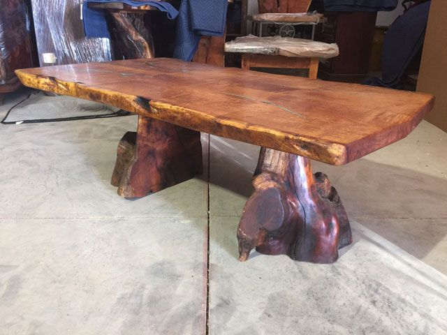 Solid Live Edge Mesquite Dining Table With Genuine Turquoise Inlay