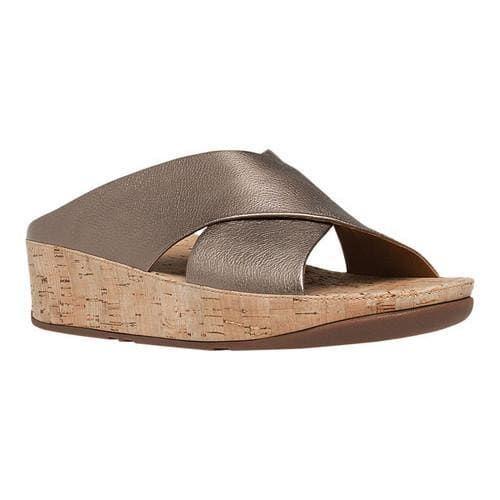 3d190587eda01 Women's FitFlop KYS Wedge Slide Sandal Bronze Leather/Cork | Comfy ...