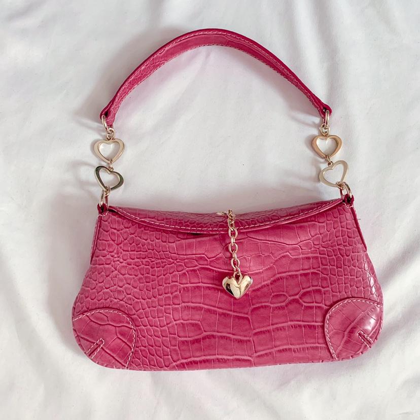 vintage y2k pink croc heart shoulder bag 10
