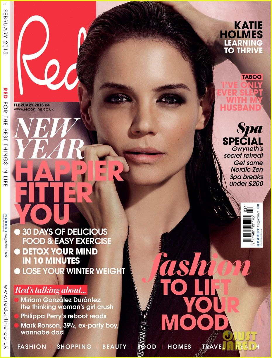 b4b46bf2610 katie holmes red magazine february 2015 01 Katie Holmes gives a sultry  stare on the cover of Red magazine s February 2015 issue