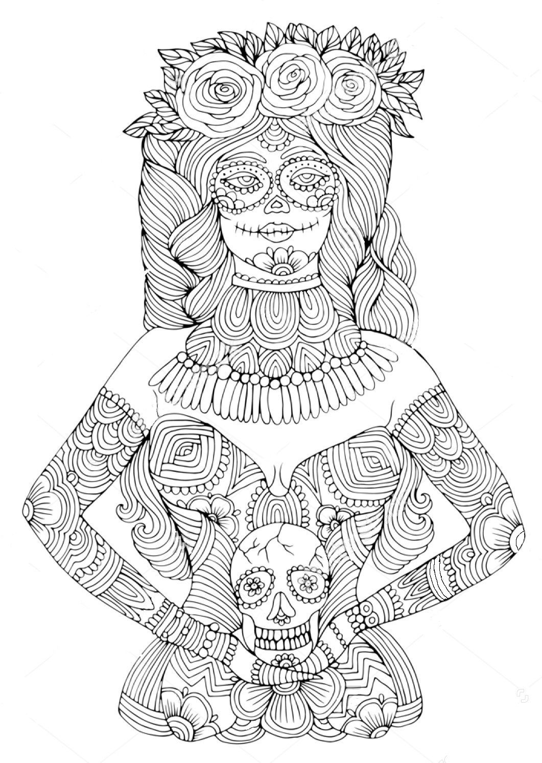 Girl with calavera makeup zentangle coloring page Zentangle