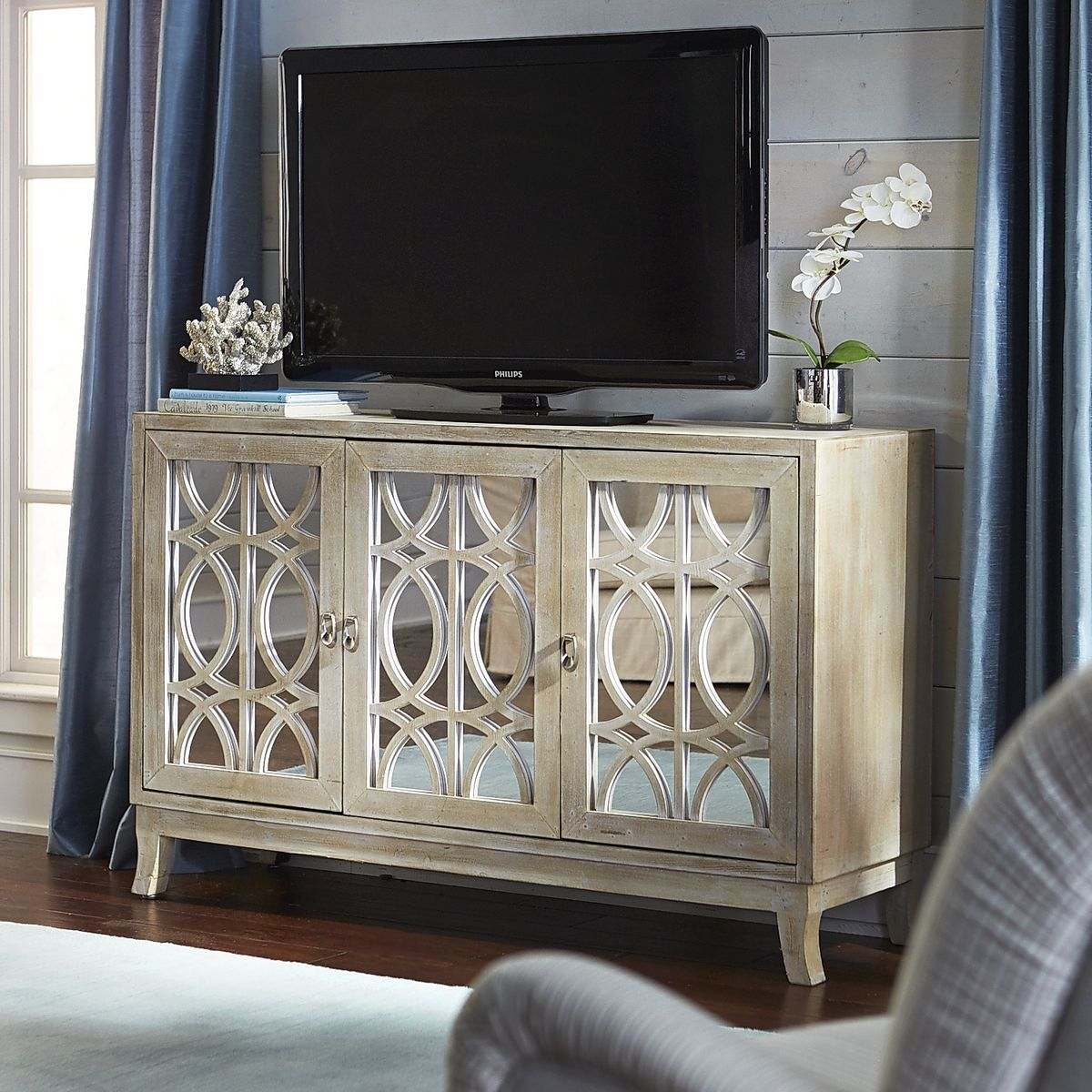Mirella Mirrored Natural TV Stand Family Room Pinterest Tv - Pier 1 tv console table