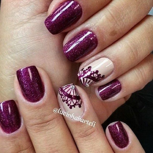 20 romantic lace nail designs dark purple nails purple nail and 20 romantic lace nail designs prinsesfo Images
