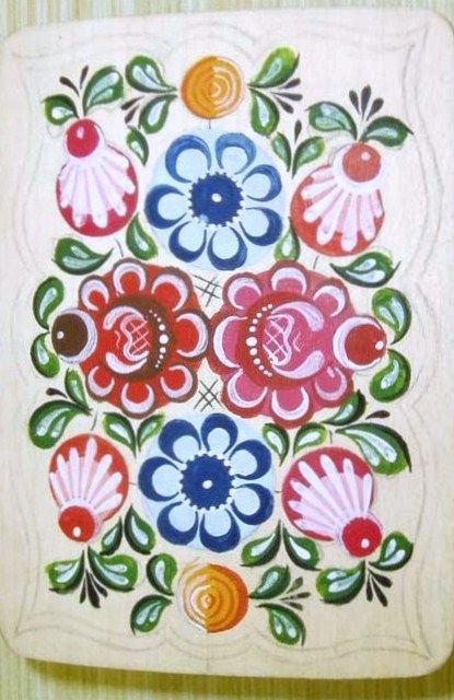 Folk Gorodets painting from Russia. Floral pattern. #art #folk #painting #Russian