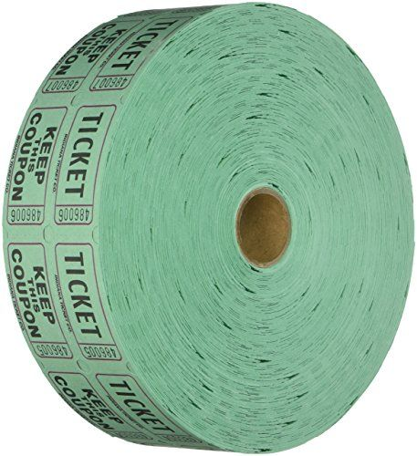 """Raffle Tickets 2000 per Roll 50/50: Green  2,000 tickets per roll, consecutively numbered Each ticket is 2"""" long and 1"""" wide  Made in the USA--The way it should be by Indiana Ticket--If it doesnt say INDIANA TICKET, its a fake, please report it to Amazon immediately!  The back of the """"ticket"""" part has a place for Name/Address/City/Phone  All rolls are perforated for easy tearing.  Great for fundraisers. 50/50 drawing--player keeps """"Keep this coupon"""" whereas the """"coupon"""" is placed in th..."""