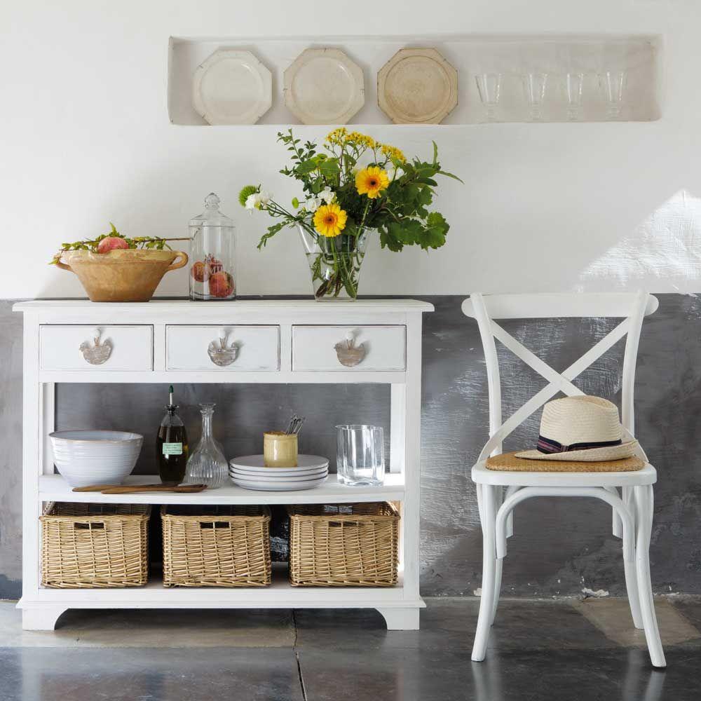 table console blanche l 108 cm basse cour bois blanc et. Black Bedroom Furniture Sets. Home Design Ideas
