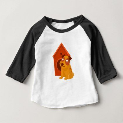 Smiling Puppy Next To Wooden Kennel Baby T Shirt