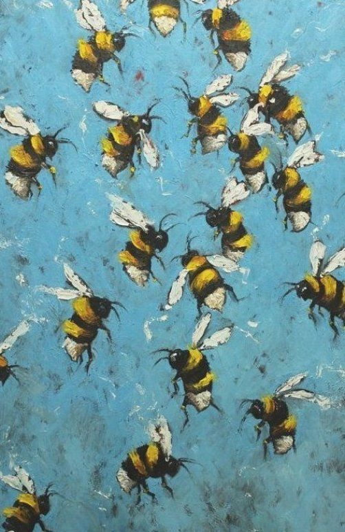 Your place to buy and sell all things handmade -  Bee painting 206 24  36 inch original oil painting by Roz by RozArt  - #Buy #handmade #IndianPaintings #OilPaintings #Paintings #place #sell #things