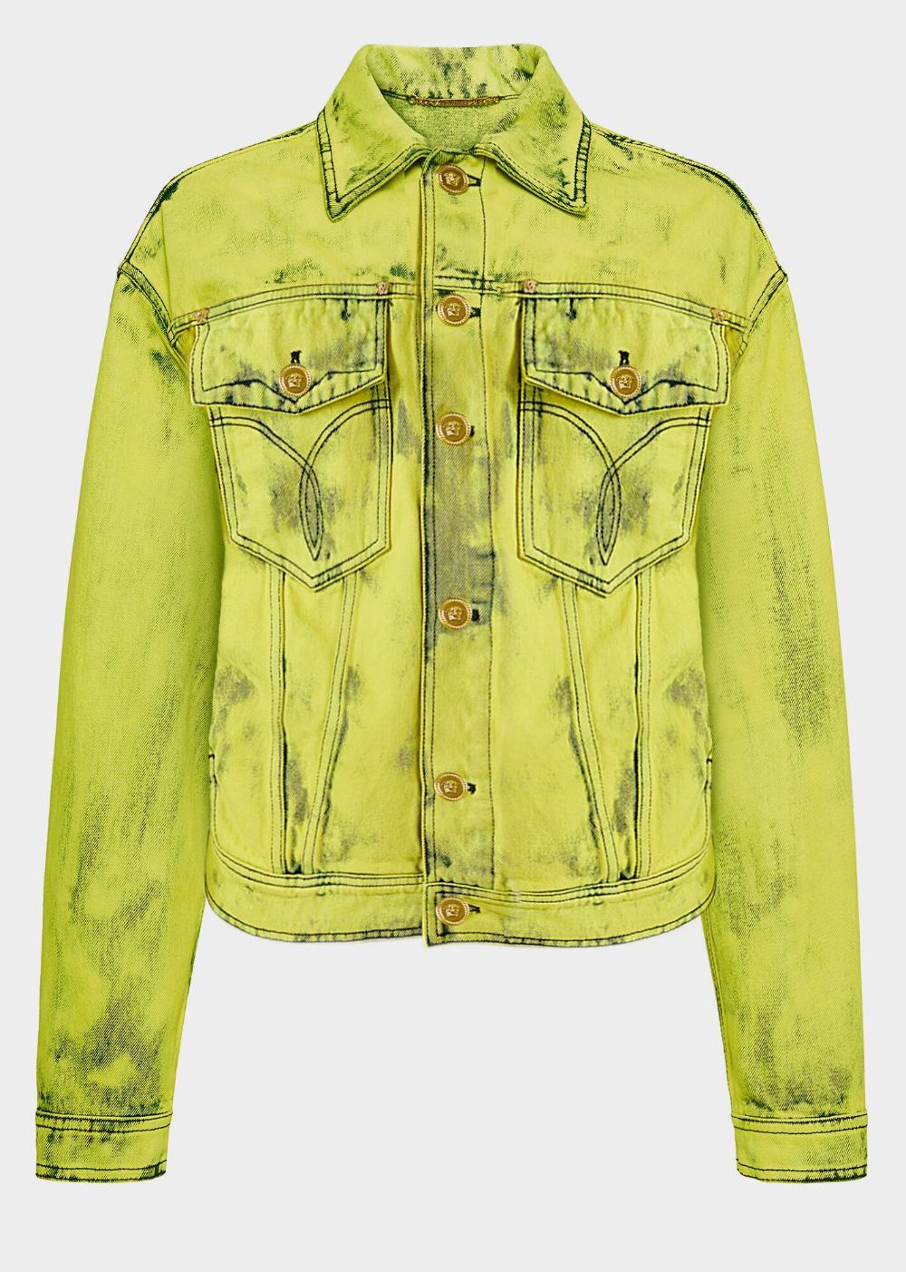 Versace Fluo Denim Jacket For Men 1495 Eur Button Up Collared Long Sleeve Denim Jacket In A Fluoresce Denim Jacket Men Denim Jacket Long Sleeve Denim Jacket [ 1403 x 1000 Pixel ]