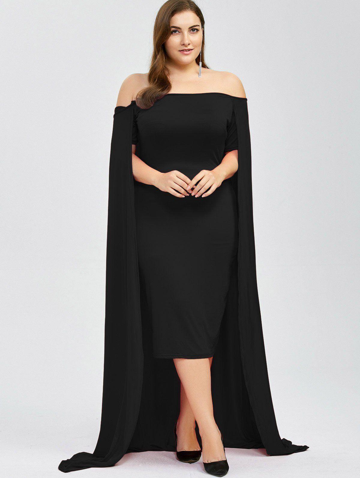 Plus Size Off Shoulder Cape Midi Dress Dresses, Midi