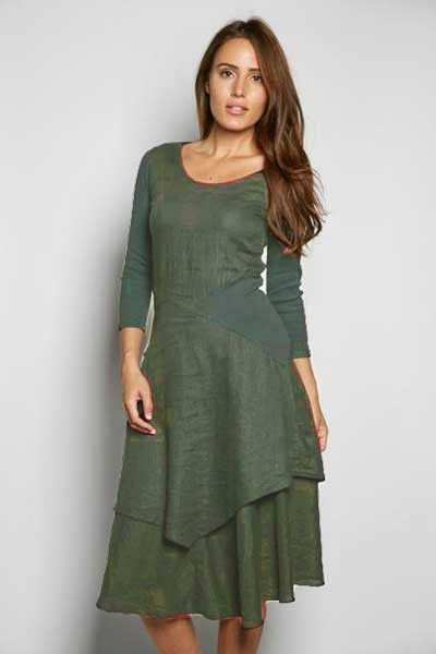 1ee622b78b Inizio Linen Dress 3 4 sleeve - Flutter - Natural Clothing Company ...