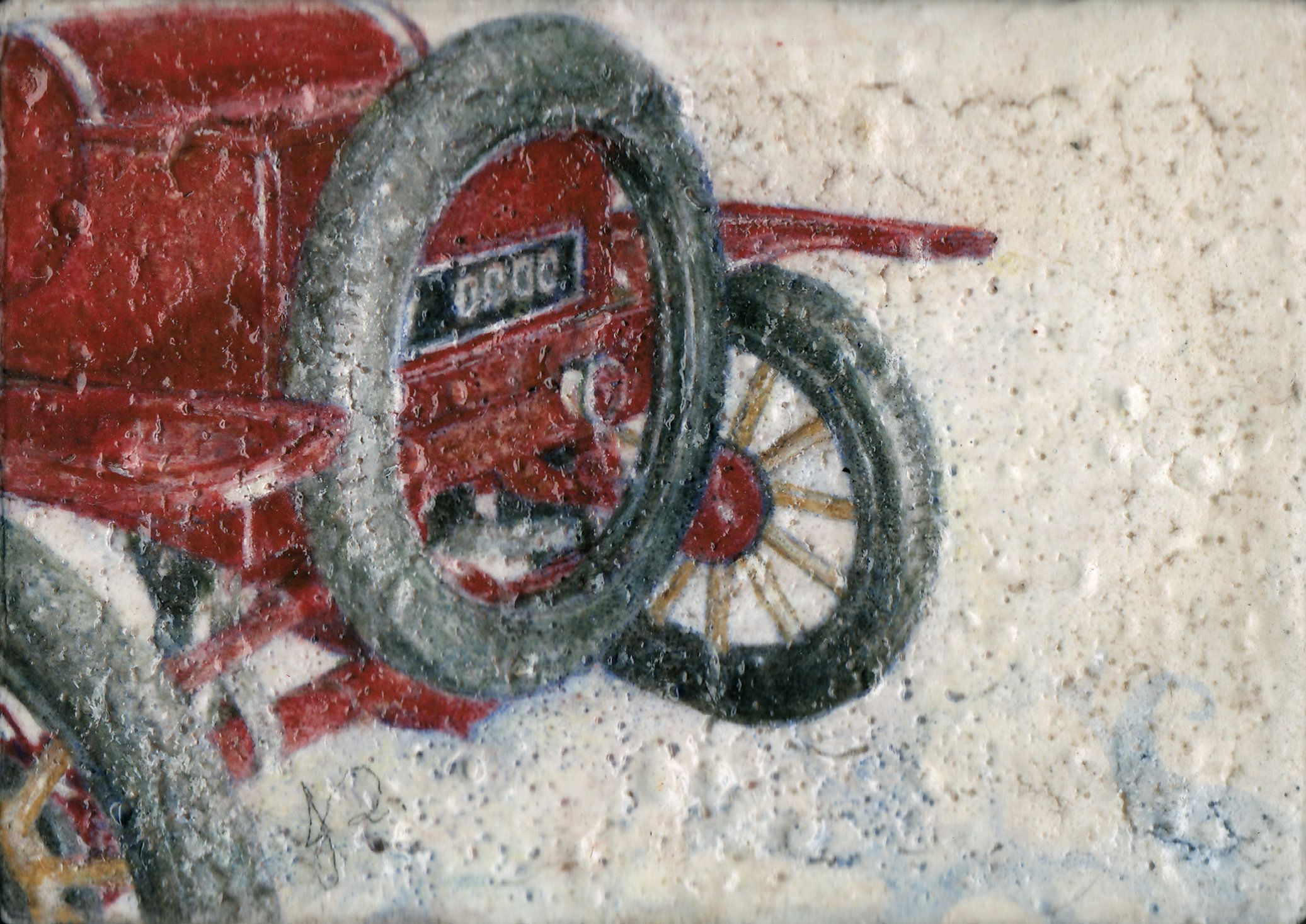Ford Model T Classic Car Painting Archival Giclee Print Realistic Vintage Motor Vehicle Red White Minimalist Art Decor Small Gift Unframed