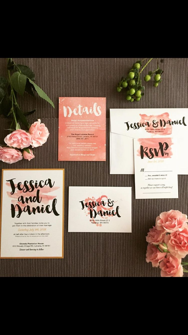 Loni Jane invites. These turned out perfect for our Maui olowalu plantation wedding