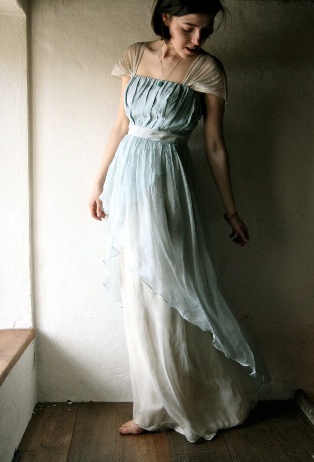 Wedding dress in light blue Naturally dyed silk chiffon - READY TO ...